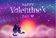 Free Romantic Valentines Day Card Of Cute Cats. Royalty Free Stock Images - 82896959