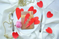 Romantic Valentines Day dinner for a ladykiller Stock Photos