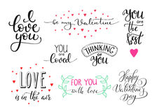 Romantic Valentines day lettering set Stock Images