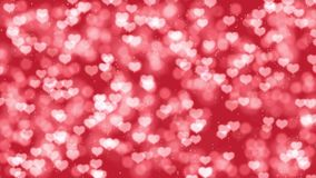 Romantic Valentines Day motion background with hearts bokeh. Romantic Mothers Day motion background with hearts bokeh. Seamless loop Valentines Day holiday