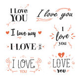 Romantic, valentines day quote, phrase I love you. Royalty Free Stock Image