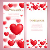 Romantic vector card templates, voucher, certificate, blurred red hearts Stock Images
