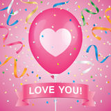 Romantic vector greeting card. Heart printed pink ballon with ribbon and colorfull confetti on a pink background. Romantic greeting card vector design Stock Photos