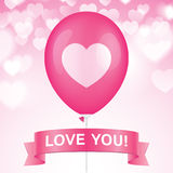 Romantic vector greeting card. Heart printed pink ballon with ribbon on a pink bokeh background. Romantic greeting card vector design Stock Photos