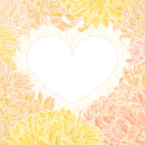 Romantic vector heart-frame with chrysanthemum Royalty Free Stock Photography