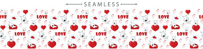 Romantic vector horizontal seamless border with dogs and hearts for Valentines day
