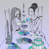 Romantic vector illustration with girls having breakfast with tea and cupcakes. Stock Photos