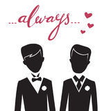 Romantic vector illustration of happy same-sex couple Royalty Free Stock Photos