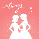 Romantic vector illustration of happy same-sex couple Royalty Free Stock Photography