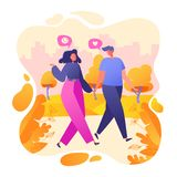 Romantic vector illustration on love story theme. Happy flat people character walking in the park. Happy lover man and woman flirt. Lifestyle concept on vector illustration