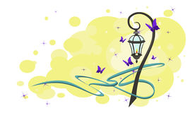 Romantic vector lamppost with butterflies and sparkles. Vintage street lamp with purple butterflies and blue ribbon. abstraction. Vector Stock Photography
