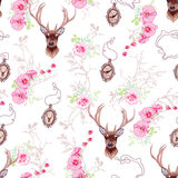 Romantic vector pattern with reindeer, orchids, roses, medallion Royalty Free Stock Photo