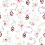 Romantic vector pattern with roses,  chain medallions and tree b Royalty Free Stock Image