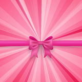 Romantic vector pink background with cute bow and Stock Photography
