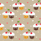 Romantic vector seamless pattern with cute pair of cupcakes shar Stock Photography