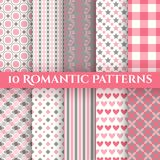 10 Romantic vector seamless patterns. Endless texture can be used for printing onto fabric and paper or invitation. Abstract geometric shapes royalty free illustration
