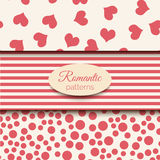 3 romantic vector seamless patterns. Pink and beige color tiling. Endless background can be used for printing onto Royalty Free Stock Photography