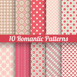 Romantic vector seamless patterns (tiling, with. 10 Romantic vector seamless patterns (tiling, with swatch). Retro red and yellow colors. Endless texture can be royalty free illustration