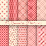 10 Romantic vector seamless patterns (tiling). Endless texture can be used for printing onto fabric and paper or invitation. Abstract geometric shapes vector illustration