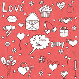 Romantic vector set in cartoon style. Fantasy about love Royalty Free Stock Images