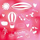 Romantic vector set with flying transport Stock Photo