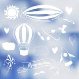 Romantic vector set with flying transport Stock Image