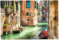 Romantic Venetian canals - artwork in painting style Stock Photos