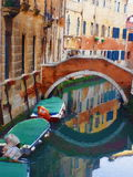 Romantic Venice. Illustration: canal water reflection, boats, bridge and Italian villas, oil painting abstract illustration Royalty Free Stock Photos