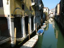 Romantic Venice canal boats Stock Photos
