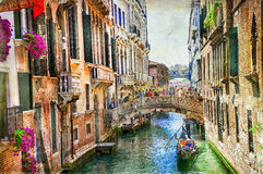 Romantic Venice - canals and gondolas . artwork in painting styl Royalty Free Stock Images