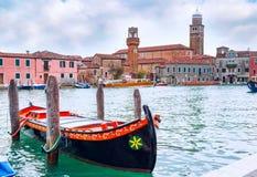 Romantic Venice scenery with gondola boat Stock Image