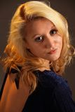 Romantic vertical portrait of young blond woman Royalty Free Stock Image