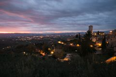 Romantic view of Assisi during winter sunset in Umbria stock image