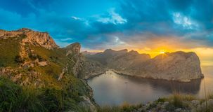 Panorama View of Cala Figuera in Mallorca at Sunset. Romantic view of the bay of Cala Figuera, Mallorca, at Sunset Royalty Free Stock Photo