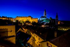 Romantic View of Castle and Roofs of Cesky Krumlov at Summer Night. Romantic View of Castle and Roofs of Cesky Krumlov at Deep Summer Night stock photos