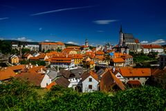 Romantic View of the Center, Castle and the Church of St. Vitus in Cesky Krumlov. Romantic View of the Old Center, Castle and the Church of St. Vitus in Cesky stock photos