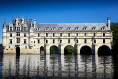 Romantic view Chenonceau castle Royalty Free Stock Images