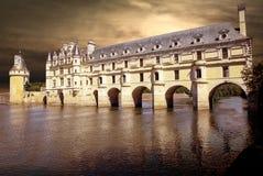 Romantic view Chenonceau castle Stock Images
