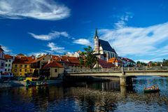 Romantic View of the Church of St. Vitus and Vltava River in Cesky Krumlov stock image