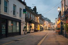 Richmond on Thames. A romantic view of church street in Richmond at sunset with all signs and ads removed Royalty Free Stock Photo