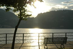 Romantic view in Como lake. Sunset on the Como lake in Italy royalty free stock images