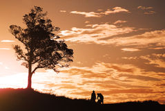 Romantic sunset and couple Stock Photography