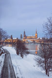 Dresden at dusk in winter Stock Photography