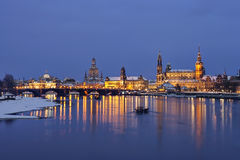 Dresden at dusk in winter Royalty Free Stock Photography