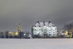 Dresden at night in winter. Romantic view on Dresden at night in winter, Germany Royalty Free Stock Photo