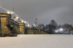 Dresden at night in winter Royalty Free Stock Photo