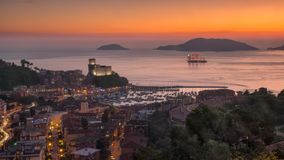 Fantastic tallship in Lerici`s gulf in the sunset royalty free stock photography