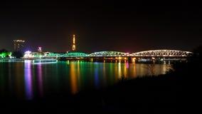 Romantic view of Hue city at night. Trang tien viewed at night, Hue city, Vietnam stock images