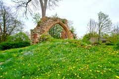 romantic view of medieval ruin of christian church Royalty Free Stock Photography
