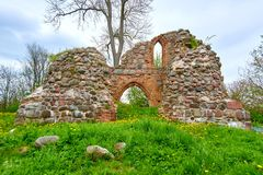 romantic view of medieval ruin of christian church Royalty Free Stock Images